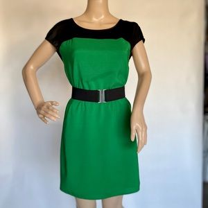 Express Green White XS Color Block Belt
